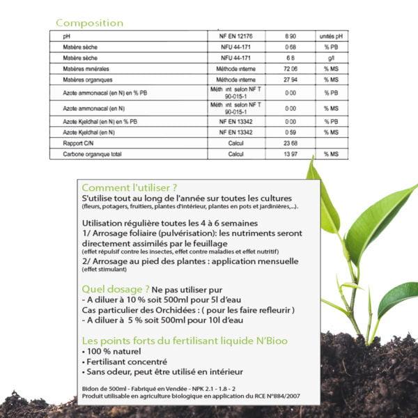 composition de l'engrais liquide n'bioo